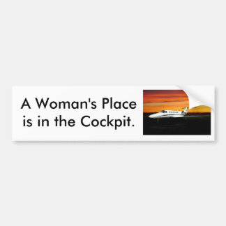 03_CitationJetCJ2_sn525A-0140_e, A Woman's Plac... Bumper Sticker