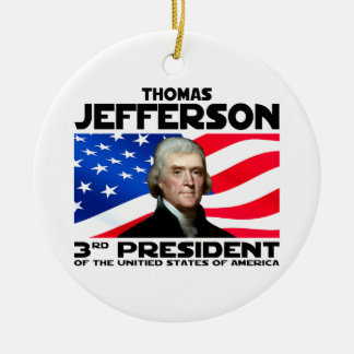 03 Thomas Jefferson Round Ceramic Ornament