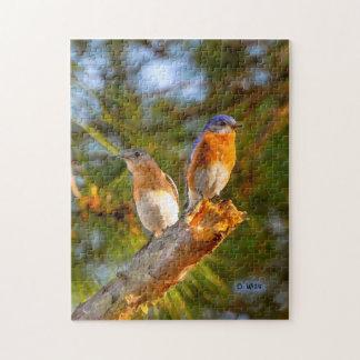 040 Bluebird Courtship 11x14 Puzzle 252 Pieces