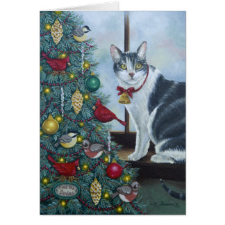 0417 Cat & Christmas Tree Birthday Card