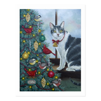 0417 Cat & Christmas Tree Postcard