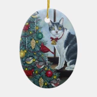 0417 Christmas Cat Ceramic Ornament