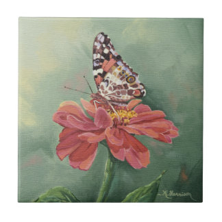 0461 Painted Lady Butterfly on Zinnia Tile