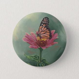 0465 Monarch Butterfly on Zinnia 2 Inch Round Button