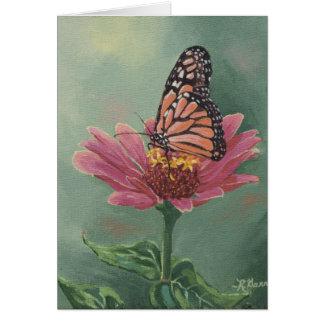 0465 Monarch Butterfly on Zinnia Birthday Card