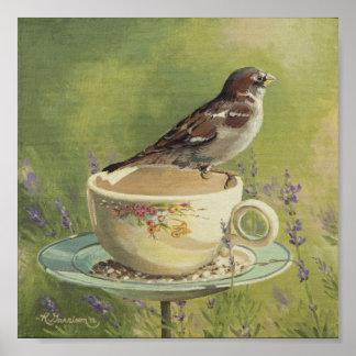 0470 Sparrow on Teacup Art Print