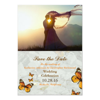 "047-Wedding Couple Sunset Romance/butterfly theme 5"" X 7"" Invitation Card"