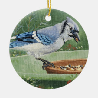 0481 Blue Jay at Feeder Ceramic Ornament