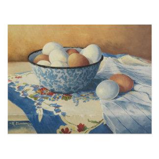 0492 Eggs in Blue Enamel Bowl Postcard
