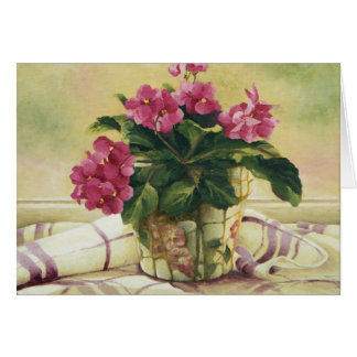 0511 African Violets in Planter Greeting Card