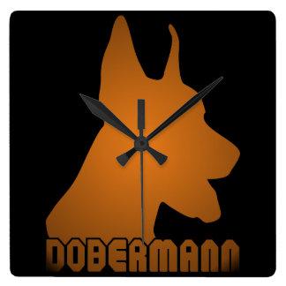 0513032011 Dobermann Square Wall Clock