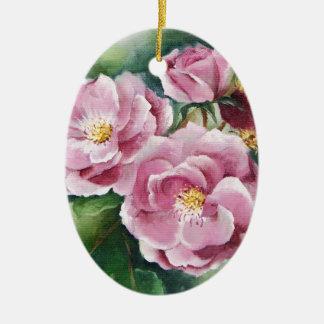 0520 Pink Roses Ceramic Ornament