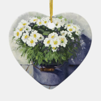 0522 White Mums in Enamelware Pot Ceramic Ornament