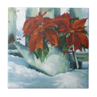 0525 Poinsettia in Watering Can Ceramic Tiles