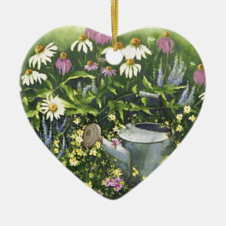 0530 Cone Flowers & Watering Can Ceramic Ornament