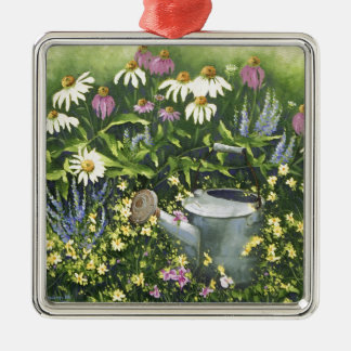 0530 Cone Flowers & Watering Can Metal Ornament