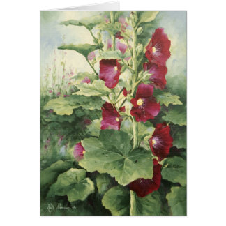 0536 Burgundy Hollyhocks Birthday Card
