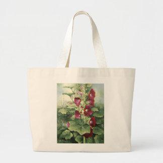 0536 Burgundy Hollyhocks Tote Bag