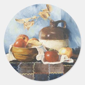 0541 Apples & Crockery on Quilt Classic Round Sticker