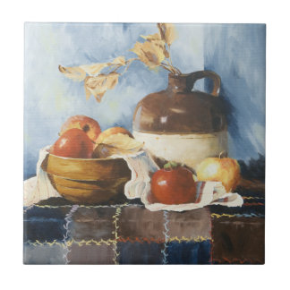 0541 Apples & Crockery Still Life on Quilt Tile