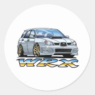 06_09_Wagon_Silver Round Stickers