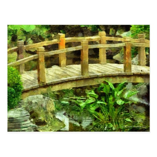 080 ASIAN GARDEN LITTLE ARCHED BRIDGE POSTCARD