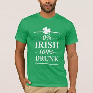 0% Irish 100% Drunk Funny St Paddys Day Drinking T-Shirt
