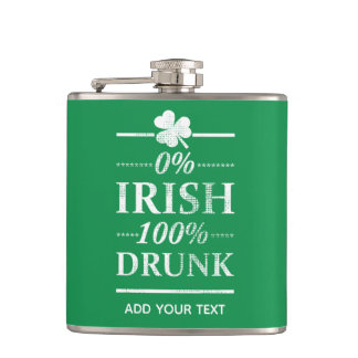 0% Irish 100% Drunk Funny Vintage St. Paddys Day Hip Flask