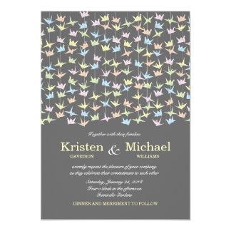 1000 Hanging Origami Paper Cranes Wedding (Grey) Card