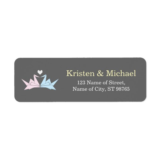 1000 Hanging Origami Paper Cranes Wedding (Grey) Return Address Label