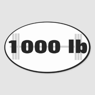 1000lb powerlifting total oval sticker