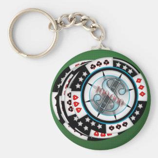 $100,000.00 Gambling Poker Chips Stack Keychain