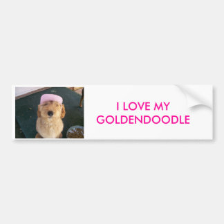 100_0605, I LOVE MY GOLDENDOODLE BUMPER STICKER