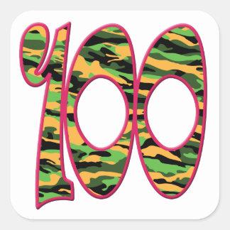100 Age Camo Square Sticker