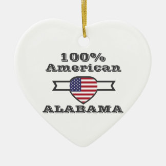 100% American, Alabama Ceramic Heart Ornament