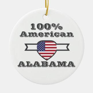 100% American, Alabama Round Ceramic Ornament