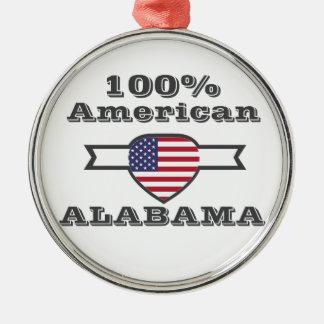 100% American, Alabama Silver-Colored Round Ornament