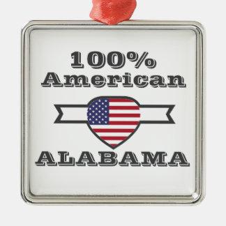 100% American, Alabama Silver-Colored Square Ornament