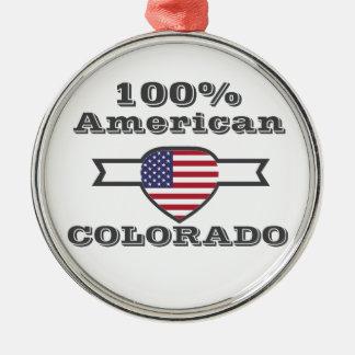100% American, Colorado Silver-Colored Round Ornament