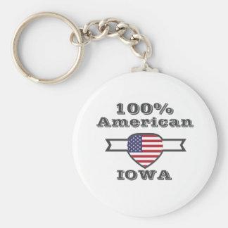 100% American, Iowa Keychain