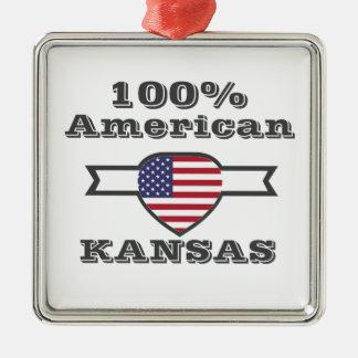 100% American, Kansas Metal Ornament