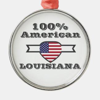 100% American, Louisiana Silver-Colored Round Ornament