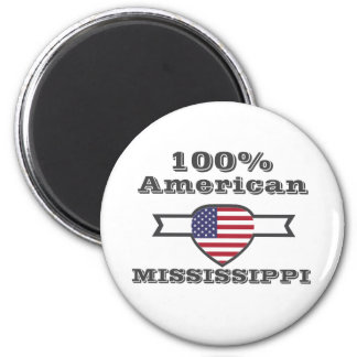 100% American, Mississippi 2 Inch Round Magnet