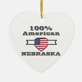 100% American, Nebraska Ceramic Heart Ornament