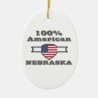 100% American, Nebraska Ceramic Oval Ornament