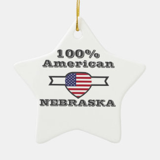 100% American, Nebraska Ceramic Star Ornament
