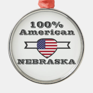 100% American, Nebraska Metal Ornament