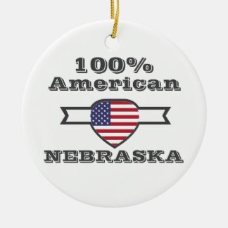 100% American, Nebraska Round Ceramic Ornament