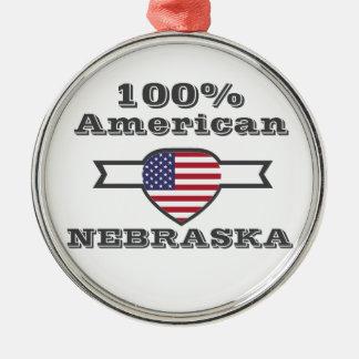 100% American, Nebraska Silver-Colored Round Ornament