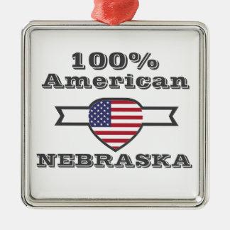 100% American, Nebraska Silver-Colored Square Ornament